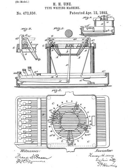 Henry H. Unz Typewriter Patent no.472836