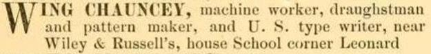 Chauncey Wing in Brimfield Directory
