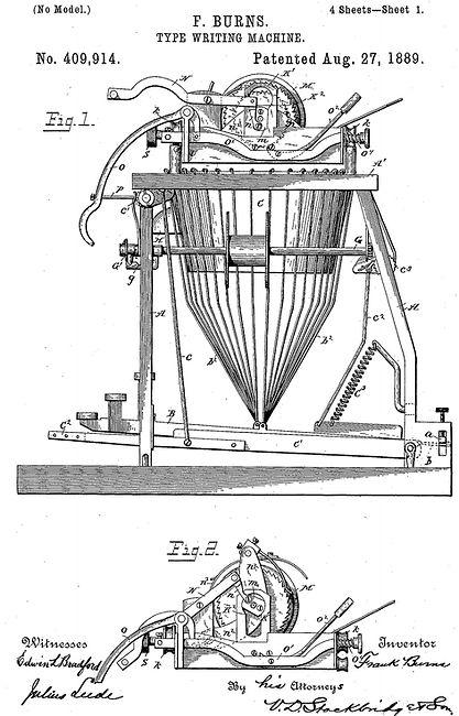 Burns Typewriter Patent