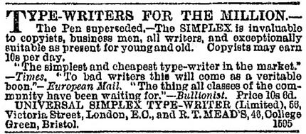 Universal Simplex Typewriter Ad