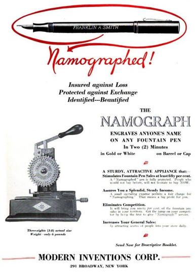 Namograph Ad 1921