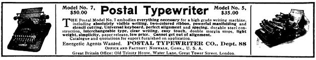 Postal No.7 Typewriter Ad