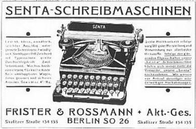 Senta Typewriter Ad