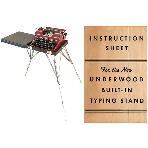 Underwood Built-In Typewriter Stand/Case Instruction Manual