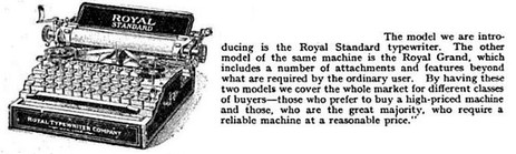 Royal Grand Typewriter Article, 1907
