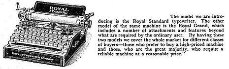 Royal Grand Typewriter Article, 1907
