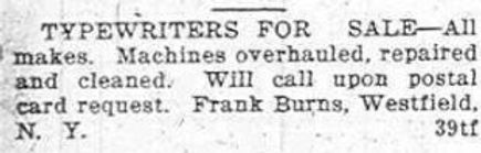 Frank Burns Typewriter Classified ca.1925