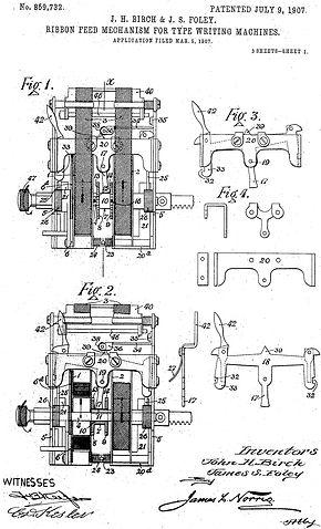 Salter Standard No.10 Typewriter Ribbon Mechanism Patent