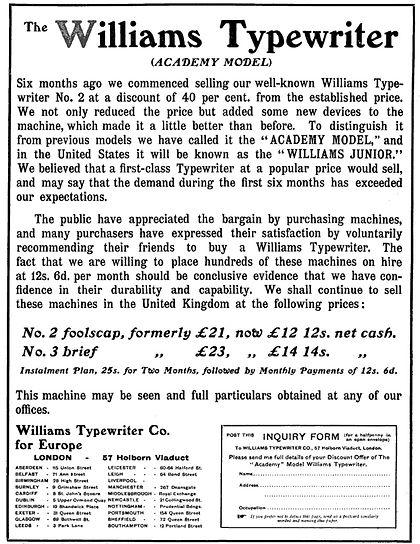 Williams Academy Typewriter Ad