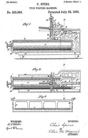 Columbia No.1 Typewriter Patent