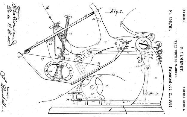 Lambert Typewriter Patent