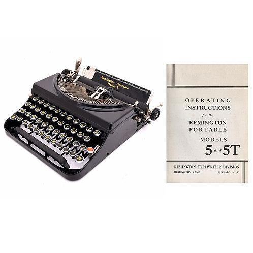 Remington Model 5 & 5T Typewriter Instruction Manual