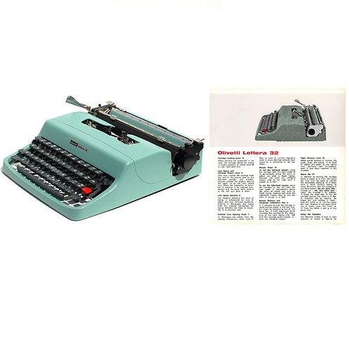 Olivetti Lettera 32 Typewriter Instruction Manual (PDF)