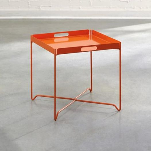 #337 Orange Metal End Table $25