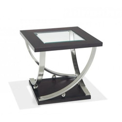 #1145 Black and Chrome Glass End Table $60 (2 Available)