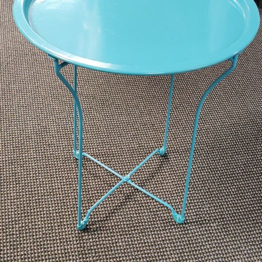 #330 Blue Metal End Table $25 (2 Available)