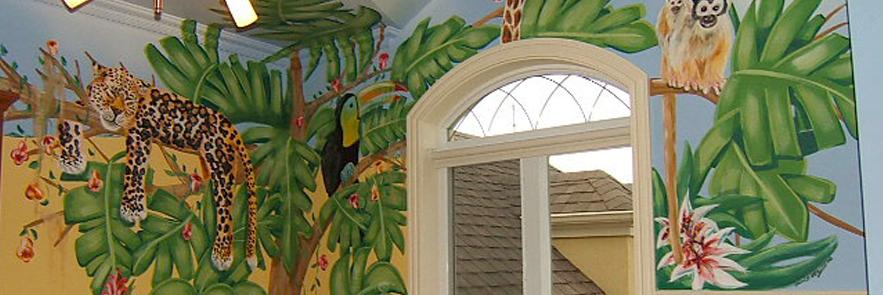 Murale La jungle dans la chambre d'Olivier
