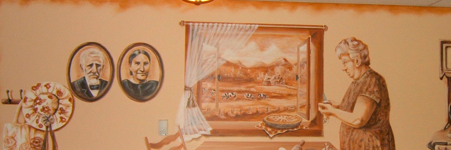 Murale à l'ancienne et trompe l'oeil Résidence Boischatel