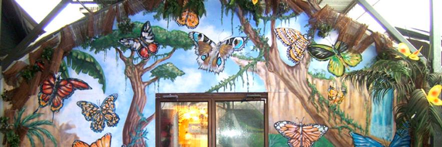Murale de l'entrée de Papillons en folie Centre Jardin Hamel
