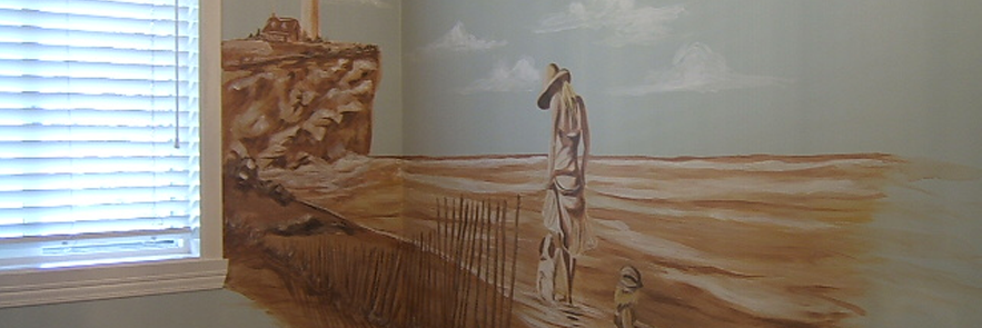Murale monochrome dans salle de bain