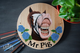 Mr Pig, Hardwood 25cm, Extra Imagery