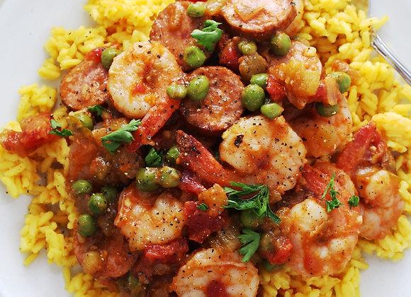 Shrimp, Sausage, Peas & Yellow Rice