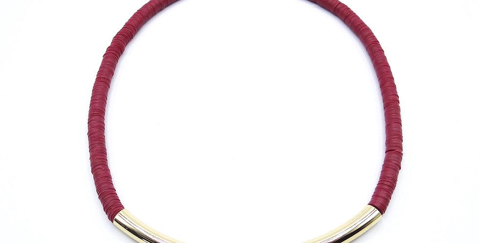 Collier Ghana Luxe Bordeau