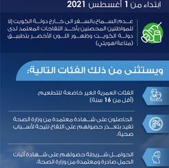 اجراءات السفر الجديدة للمغادرين من مطار الكويت الدولي اعتبارا من 2021/8/1