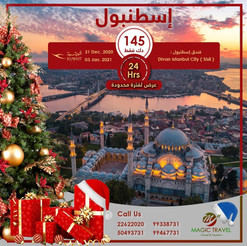 اسطنبول * شهر 12 / 2020 - 4 أيام - 145 دينار