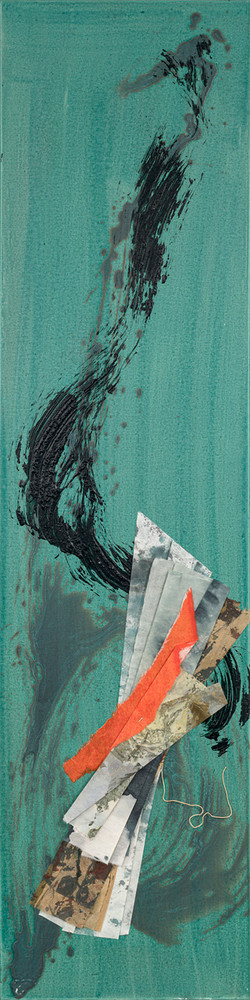 Turtle Island Series II, 2021 (48x12 inches) - Mixed media and Japanese Washi on canvas