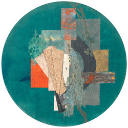 Rondal Series II.I, 2020 (20x20 inches) - Mixed media and Japanese Washi on wood