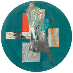 Rondal Series II.II, 2020 (20x20 inches) - Mixed media and Japanese Washi on wood