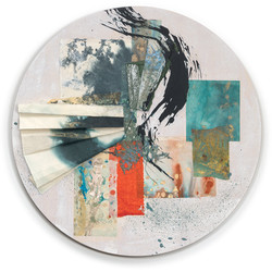 Rondal Series II.IV, 2021 (20x20 inches) Collection: J. Nasu - Mixed media and Japanese Washi on woo
