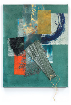Sentinel III, 2021 (16x20 inches) - Mixed media and Japanese Washi on canvas