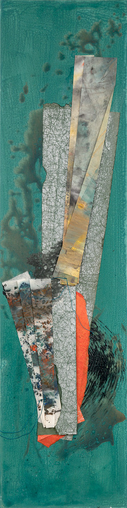 Turtle Island Series I, 2021 (48x12 inches) - Mixed media and Japanese Washi on canvas