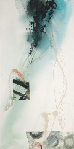 Submersion I, 2021 (48x24 inches) - Mixed media and Japanese Washi on canvas