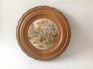 Acrylic oil painting on wood (cedar) and woodcarving. 14.9 in. Diameter 1.5 in depth