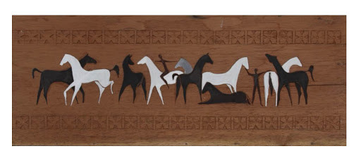 Acrylic oil painting on wood (cedar) and woodcarving 34.2*10.8 (Inches)
