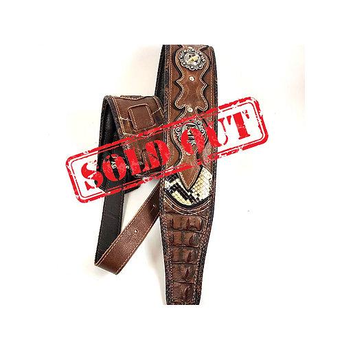 bad ass gunslinger guitar strap brown with decorations