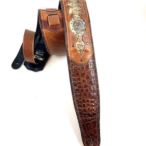 real snake guitar strap brown: Faux alligator
