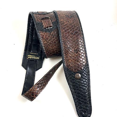 vegan  guitar strap with animal print brown and black