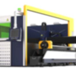 Sárga-kék kombinált sík-és csővágó fiber lézervágó gép közelről