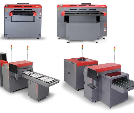Piros-szürke ipari UV nyomtató négy nézetben