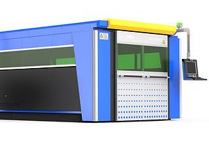 G3015C fiber lézervágó kék és fekete színű zárt burkolattal és biztonsági ajtókkal.jpg