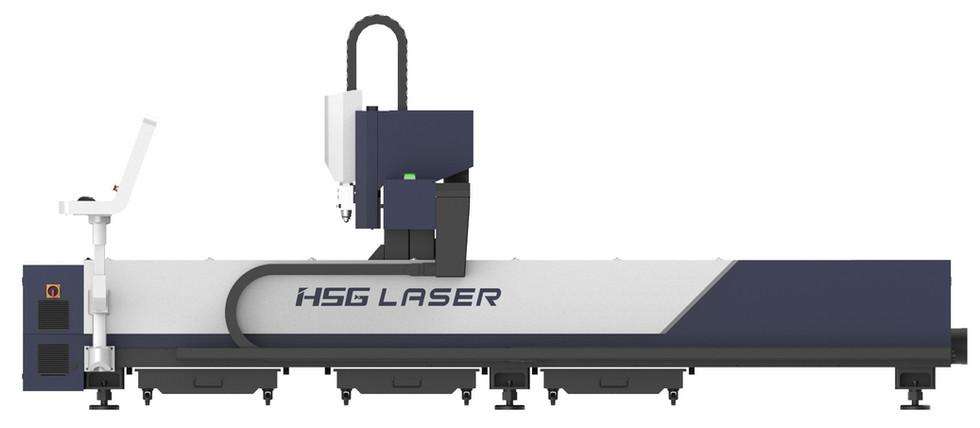 XLASE G3015C fiber lézervágó gép hosszanti oldalnézetben