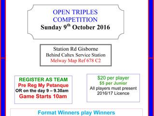 MT Macedon Open triples 9th Oct 2016
