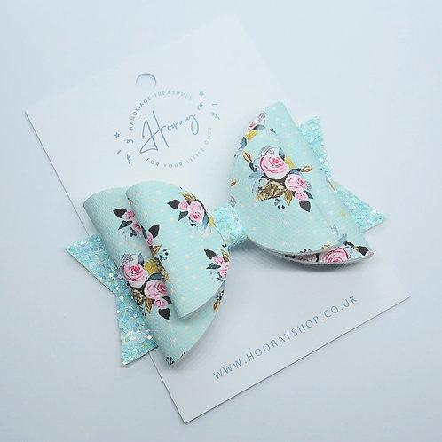 Mint Floral Bow