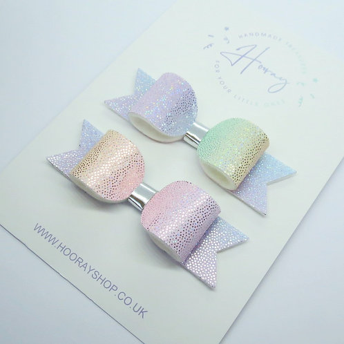 handmade rainbow pigtail hair bows front view