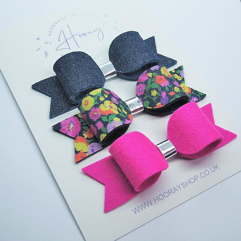 handmade denim and floral hair bow set front view