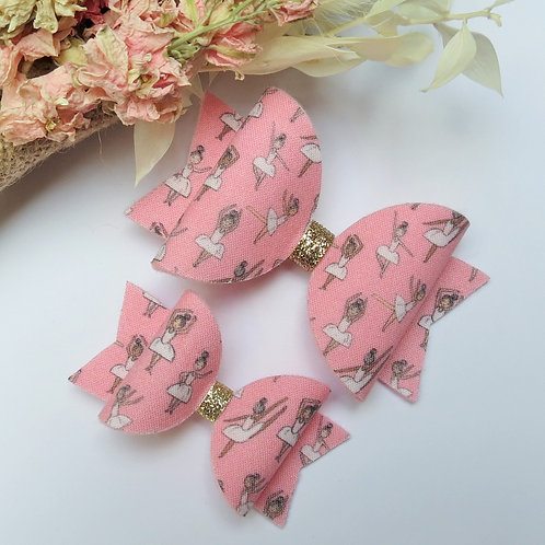 handmade ballet hair bows front view